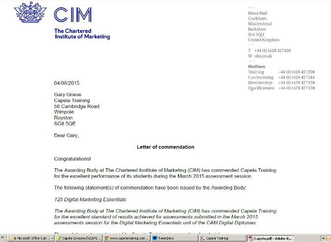 CIM commendation