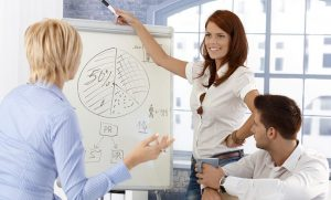 Business team at presentation, businesswoman drawing diagram on whiteboard, smiling.