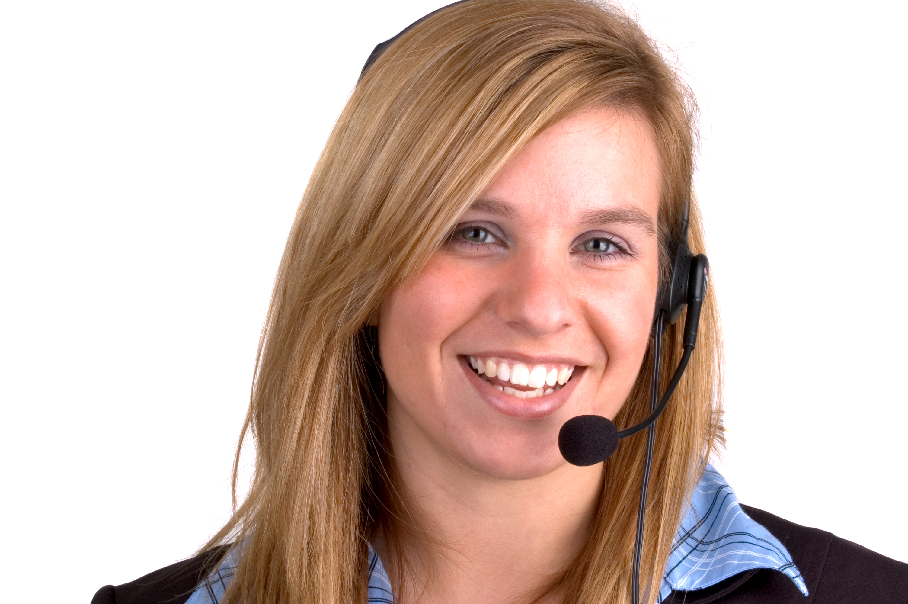 Attractive Blond Young Woman With A Telephone Headset